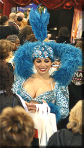 Show girl in a crowed Las Vegas convention